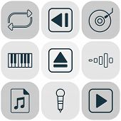 Audio Icons Set With Synthesizer, Dj Disc, Eject Button And Other Document Elements. Isolated  Illus poster