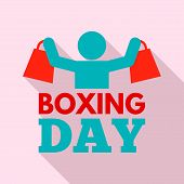 Shopping Boxing Day Logo Set. Flat Set Of Shopping Boxing Day Vector Logo For Web Design poster