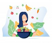 Vegetarianism And Dieting Concept Banner For Mobile App Or Advertising Blog. Vector Illustration Of  poster