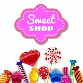 Candy Sweet Shop Template Set Of Different Colors Of Candy, Candy, Sweets, Candy, Jelly Beans. Backg poster