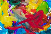 Abstract gouache hand painting for background. Multi colored brush strokes gouache paint. Kids abstr poster