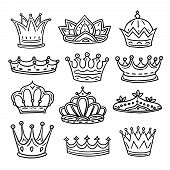 Hand Drawn Crowns. King, Queen Doodle Crown And Princess Tiara. Vintage Royal Sketch Isolated Vector poster