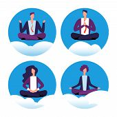 Meditation Yoga Businesspeople Vector Icons. Office Workers Avoid Stress. Vector Concept Of Office Y poster