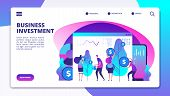 Investments Landing Page. Investment Fund Managers Make Profit For Clients. Cash Revenue Consolidati poster