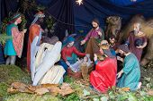 Nativity Scene Of Christ With Colored Figures, Christmas Nativity Scene With Three Wise Men Presenti poster