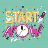 Success Secret - Start Now. Hipster Print. Motivation And Inspiration Slogan. Inspire Poster For Sta poster