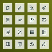 Instrument Icons Line Style Set With Folders On Shelf, Palette, Notes And Other Shears Elements. Iso poster
