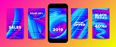 Movement Of Fluid Shape. Story Template For Social Media Promotion. Wave Posters With 2019 New Year  poster