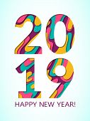 2019 Happy New Year Greeting Card With Fluid Paper Cut Shapes Background. Pink Blue 3d Carving Art V poster