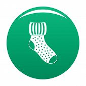 Woolen Sock Icon. Simple Illustration Of Woolen Sock Vector Icon For Any Design Green poster