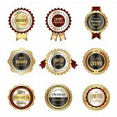 Golden Labels Badges. Premium Service Crown Luxury Best Choice Stamp Templates Vector Design Of Colo poster