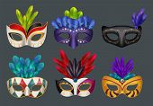 Masquerade Masks Realistic. Masked Fashion Party Carnival Vector Realistic Illustrations Isolated. C poster
