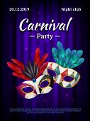 Carnival Placard. Masquerade Poster Invitation With Venetian Party Mask Beauty Realistic Vector Pict poster
