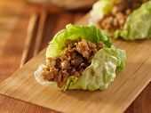 Asian lettuce wrap with minced chicken and seasonings closeup