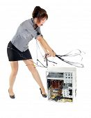 picture of welts  - crazy business woman whipping computer with wires - JPG