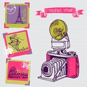 Lovely Card - Vintage Camera with Europe Architecture - in vector