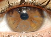 image of sphincter  - Stock photo of a clock in the iris - JPG