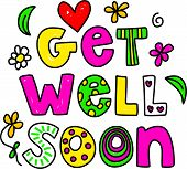 picture of get well soon  - Simple but pretty whimsical text message isolated on white - JPG