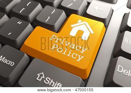 Постер, плакат: Клавиатура с кнопкой политики конфиденциальности , холст на подрамнике