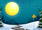 foto of long winding road  - Illustration of a long winding road under the bright full moon - JPG