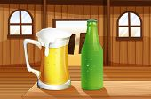 Illustration of a beer and a bottle of softdrink at the table