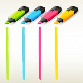 Illustration of the colorful highlighters on a white background