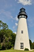 stock photo of coast guard  - Amelia Island Lighthouse is Nassau County Florida is the oldest operating lighthouse in Florida and the most western from the shore on the East Coast - JPG