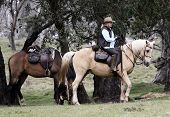 picture of horse riding  - Female rider and horse in the Australian outback - JPG