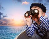 picture of binoculars  - Little boy in sailor - JPG