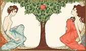 stock photo of garden eden  - Detailed vector illustration on religious theme showing Adam and Eve sitting in Eden near apple - JPG