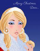 image of saxy  - Christmas card template with beautiful Santa girl - JPG