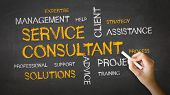 picture of slogan  - A person drawing and pointing at a Service Consultant Chalk Illustration - JPG