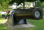 stock photo of cannon-ball  - 20 inch Parrott Cannon of 1864 as a Civil War Memorial in Bay Ridge area of Brooklyn - JPG
