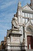 pic of alighieri  - Monument Dante before a cathedral Santa Crose in Florence - JPG