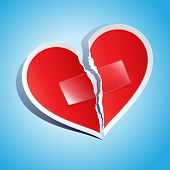 stock photo of reunited  - Vector illustration of a torn paper heart fixed with tape - JPG