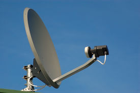 image of antenna  - Saucer shaped dish of cable television antenna and receptor - JPG