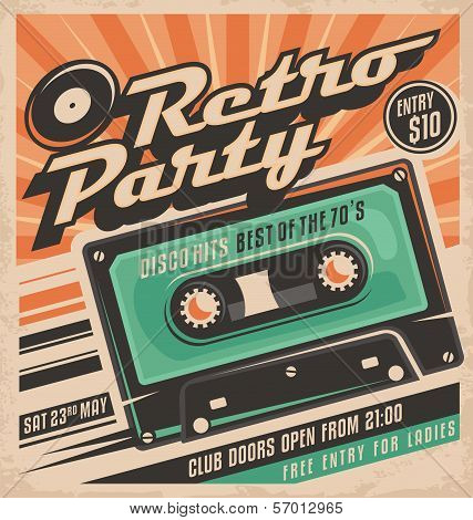 Retro party poster design poster