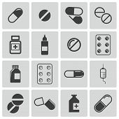 pic of antibiotics  - Vector black pills icon set on white background - JPG
