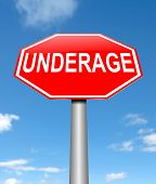 foto of underage  - Illustration depicting a sign with an underage concept - JPG