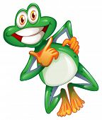 image of orange frog  - Illustration of a smiling frog on a white background - JPG