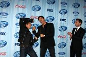 LOS ANGELES - JAN 14:  Harry Connick Jr, Keith Urban, Ryan Seacrest at the American Idol Season 13 P