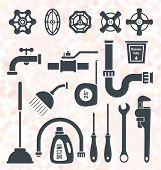 pic of putty  - Collection of Silhouettes of Plumbing Service Objects and Tools - JPG