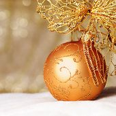 Christmas Decoration On Defocused Lights Background