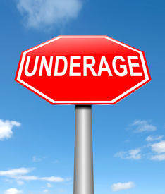 picture of underage  - Illustration depicting a sign with an underage concept - JPG