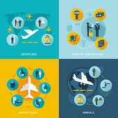 stock photo of mass media  - Airport terminal flight services concept flat icons set of passenger arrivals departures passport control luggage check and mass transit for infographics design web elements vector illustration - JPG