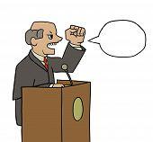 stock photo of politician  - this is an illustration of politician saying loud speech - JPG