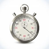 picture of chronometer  - Realistic metallic stopwatch sport chronometer isolated on white background vector illustration - JPG