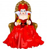 stock photo of alice wonderland  - Angry Queen of Hearts on throne - JPG
