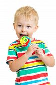 picture of lollipops  - happy kid boy eating lollipop candy isolated - JPG