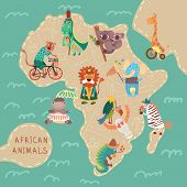 stock photo of african lion  - Map of Africa with cute animals in vector. African animals set: jaguar giraffe hippopotamus iguana zebra lion crocodile koala elephant vulture